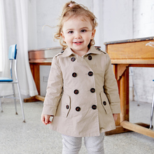 PPVG Autumn Girls Trench Casual Classic Turn-down Collar Long Children Clothes(China)