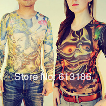 Free Shipping 2017 New Fashion Summer Punk Mesh Fake Tattoo Shirt Long Sleeve For Men/Women,More Styles Can Choose(China)