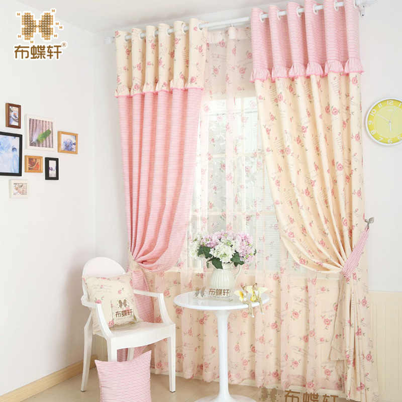 So Beautiful! Pink Striped Drapes for Girl Princess Children's Room Bedroom Beige Floral Cotton Curtains
