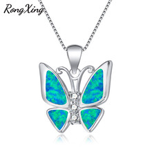 RongXing White/Blue Fire Opal Butterfly Pendant Necklaces For Women 925 Sterling Silver Filled Birthstone Animal Jewelry NL0151(China)