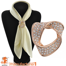 2016 Dual purpose rhinestone crystal brooch Garment Scarf clip shinny vintage heart brooch pin for wedding/ gift