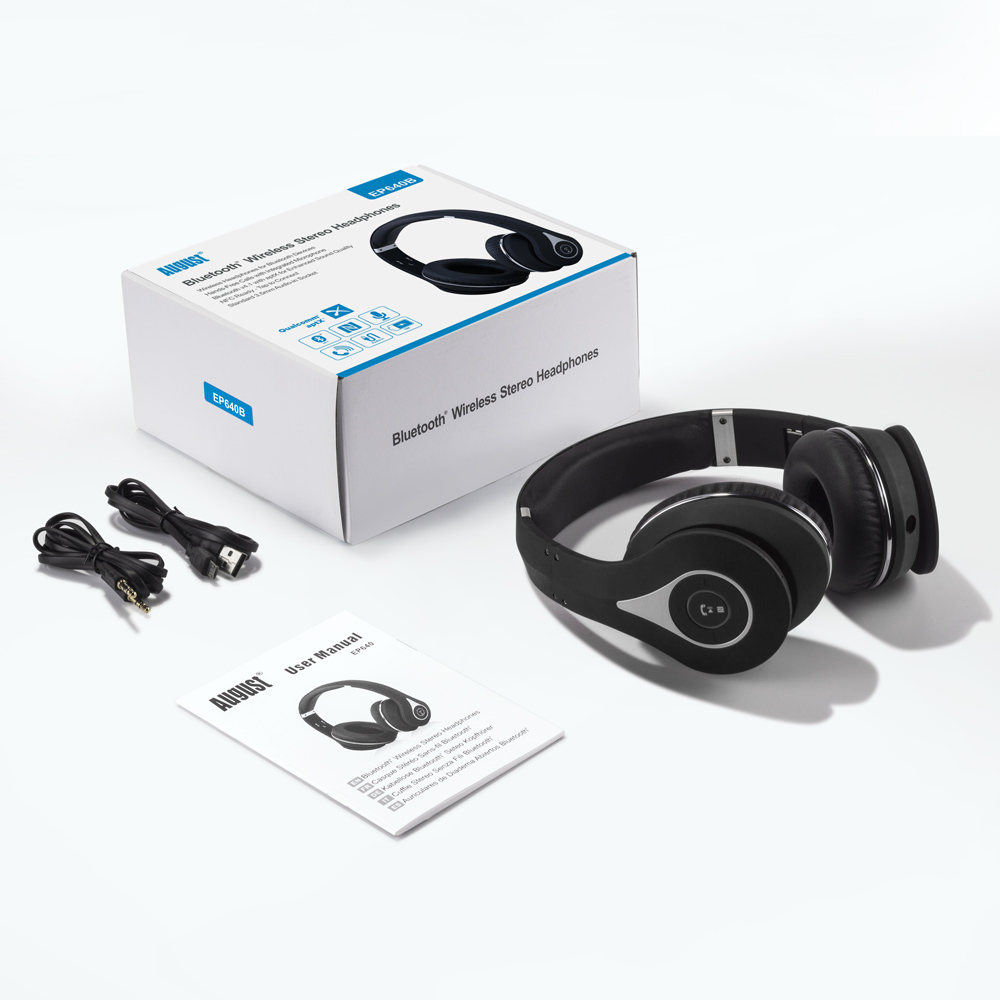 August EP640 Wireless Bluetooth Headphones,Black