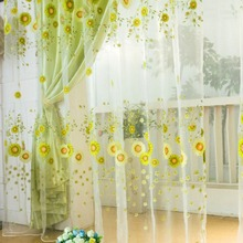 1PCS New Pastoral Sunflower Tulle Voile Window Curtain Drape Panel Sheer Scarfs Valances Window Scarfs Home Textile