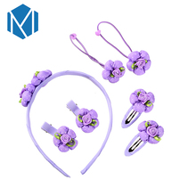 1Set=7pcs Lovely Baby Girls Flower Headwear Set Hair Clip Headband Hair Accessories Cute Children Elastic Hairband Ornament Gum(China)