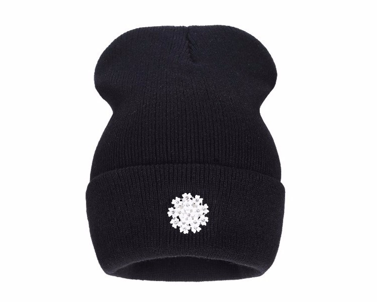 Ralferty New Fashion Lovely Knitting Wool Acrylic Beanies Hip Hop One Flower Hats for Women Gorros Bonnets Caps Woman Floral Cap 5