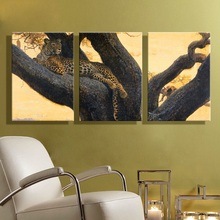 Oil Painting Canvas Leopard on A Tree Landscape Wall Art Decoration Home Decor Modern Artwork Wall Picture For Living Room(3PCS)