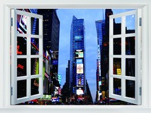 Times Square Night Lights Manhattan New York City BW Fake Windows Art Huge Print Poster TXHOME W03233