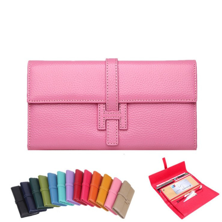 Brand Design Genuine Leather Wallet Lady Cow Leather Card Package European and American Fashion H Button Ladies Clutch<br>