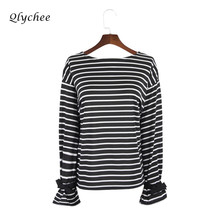 Buy Qlychee Stripe Long Sleeve T-shirt Womens Clothing Black White Flare Sleeve Bow T shirt Female Tee Shirts Ladies Tees Tops for $8.89 in AliExpress store