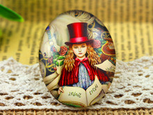 New Fashion  2pcs 30x40mm Handmade Photo Glass Cabochons (Red Hat Lady)  (I3-08)