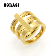 Fashion 3 Rows Layered Rings Midi Rings Punk Knuckle Ring 24k Gold Color Rings For Women Stainless Steel Ring Jewelry Wholesale(China)