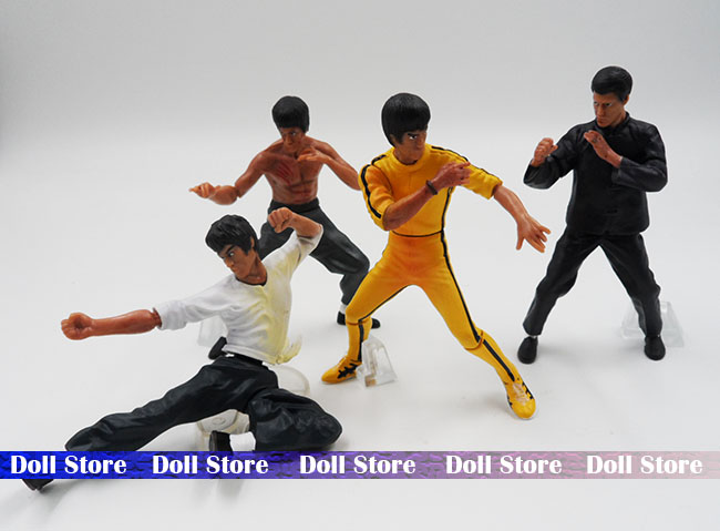 4cs/lot pvc 6-9cm bruce lee action figure set super Kung Fu star Collection Toys kids toys for boy(China (Mainland))