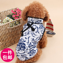 Spring and summer clothes cat dog clothes Teddy Bichon Pomeranian puppy printing dress pet Robes