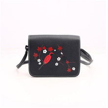 crossbody bags for women leather Plum blossom bird prints black waterproof Handbag messenger bags 2017 vintage high quality bags(China)