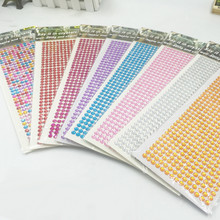 6mm 1 Sheet /504 Pcs Acrylic Adhesive Crystals Motif Rhinestones Drilling Stickers Car Decor Flat Beads Jewelry Decoration(China)