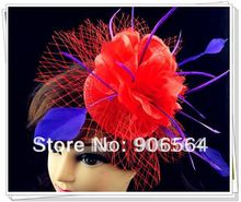 Free shipping red fascinators with purple feather decoration high quality sinamay fascinator hats Very nice wedding hat MSF123(China)