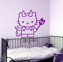 Cute Cartoon Hello Kitty Vinyl Creative Decorative Decal Wall Sticker Mural Wallpaper For Hoom Decorations Free shipping(China)