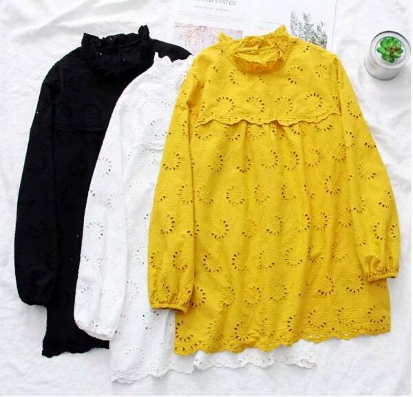 2019 spring  floral hollow out ruffled long sleeve long doll shirt female kawaii