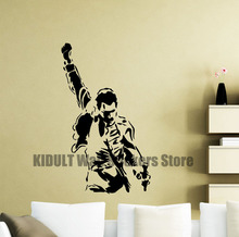 Freddie Mercury Wall Decals Metal Rock Music Characters Vinyl Stickers Room Teenagers Children Music Posters Art Deco Frescoes(China)