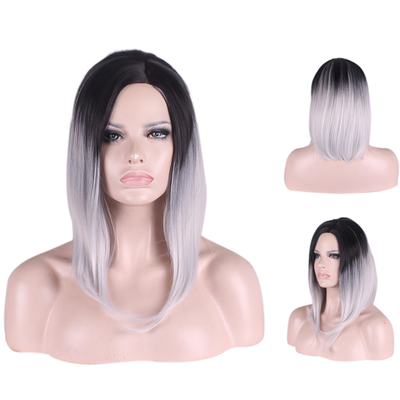 16 inches New Fashion Grey Wig Graduated Color Wigs For Female Centre-parted Medium Straight Wig Synthetic Hair Heat Resistant<br><br>Aliexpress