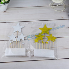 2 Sets/14pcs Star Gold Glitter Cupcake Toppers Premium Quality for DIY Party Planning Cake Decorating 1st Birthday Holiday Favor