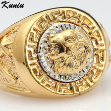 2017 Golden 19mm Cool Lion Head Design Men's Rings Eagle Star 18KGP Fashion Men Jewelry Size 8-12 Ring for Male Party Ring Gift
