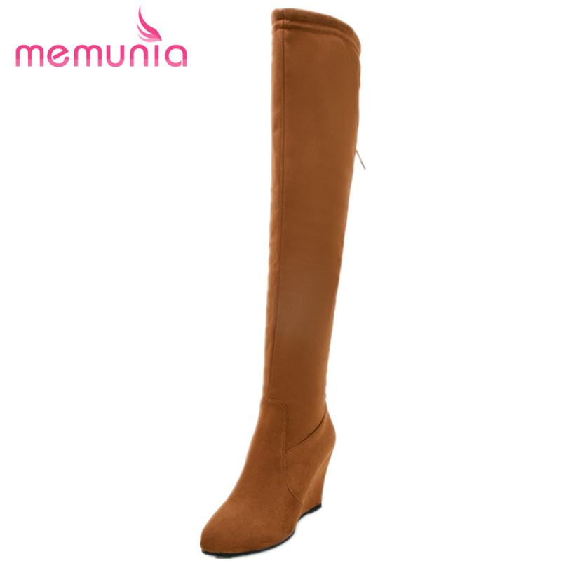 MEMUNIA Big size 34-44 over the knee long boots fashion elegant women boots spring autumn wedges shoes flock zip party<br>