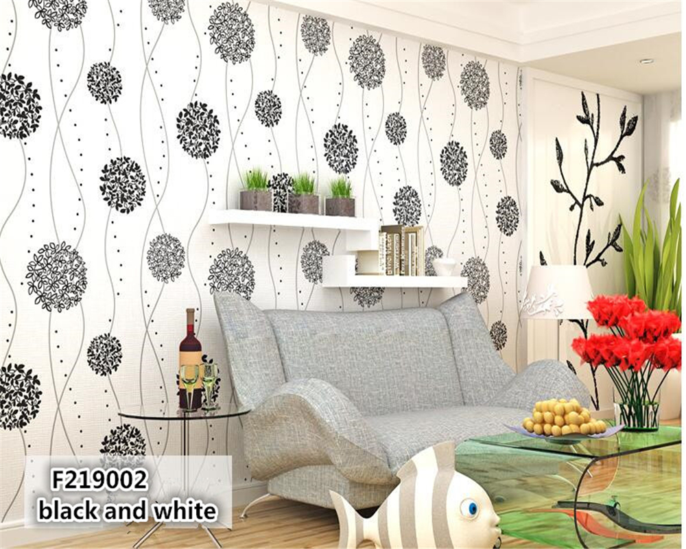 beibehang tapety Sweet pastoral non woven contemporary and contracted sitting room bedroom TV setting black and white wallpaper<br>