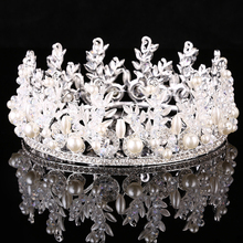 Silver Color Crystal Pearl Rhinestone Tiara Wedding Bridal Round Crowns Princess Queen Pageant Prom Bride Hair Accessories