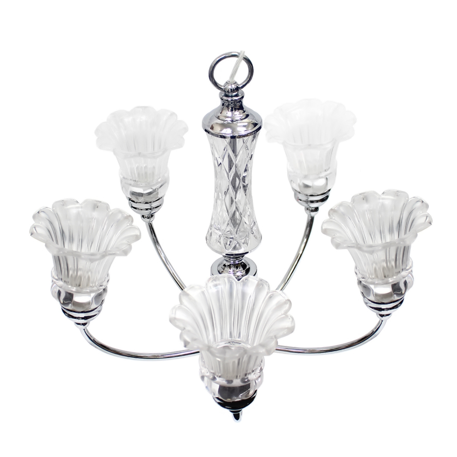 Elegant Designs 5 Light Glass Ceiling Glacier Petal Chandelier - Chrome (1)