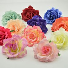 2pcs 10cm cheap Silk Blooming Roses Artificial Flower Head For Wedding Car Decoration DIY Garland material Floristry Fake Flower(China)