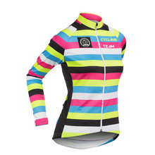 NEW 100% Cashmere Winter Fleece long sleeve women cycling jersey & no Fleece cycling clothing / wear Color bar Arbitrary choice