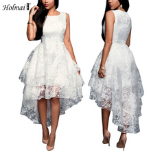 Buy HOLMAI 2017 Fashion Women New Graceful Sleeveless White Irregular Mesh Dress Women's Wedding Party Cocktail Slim Sexy Dress for $32.60 in AliExpress store