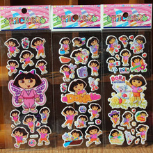 % 10 pcs / lot Dora Bubble Stickers Party Supplies Wall sticker Kids Cute Cartoon Toys Stickers Puffy  Bubble Toy Reward Sticker