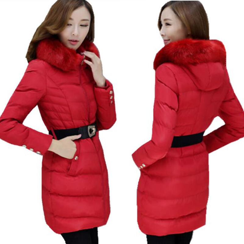 Winter Coats and Jackets for Women large Parka Fur Hooded M-5XL Plus Size Female Slim Parka Red ow0245Одежда и ак�е��уары<br><br><br>Aliexpress
