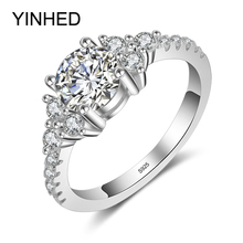 95% Sale !! YINHED Real Solid 925 Sterling Silver Ring 1 Carat Cubic Zirconia CZ Diamant Wedding Ring Engagement Jewelry ZR377(China)