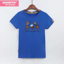 ASANGYA Vogue T-Shirt Vrouwen Cotton Top Knitted Print Three Cats T-Shirts Logo Feyenoord Tshirt Tee Shirt Femme 2017 Summer(China)