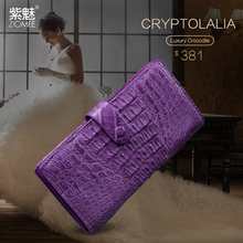 ZIOMEE lady customized crocodile gunuine leather wallets women brand designer alligator 13 card purple holder long coehide purse