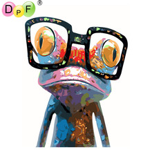 "DPF Frameless Oil painting ""Big eye frog"" digital by numbers diy picture coloring on canvas craft handwork wall decor(China)"
