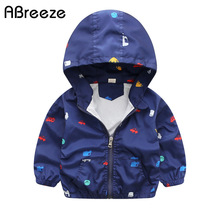 2017 New Summer & autumn children jackets casual hooded kids outerwear/coats 1-7T blue and whith style jackets for boys CQ03