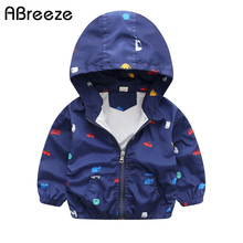 2017 New Summer & autumn children jackets casual hooded kids outerwear/coats 1-7T blue and whith style jackets for boys CQ03(China)