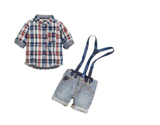 Free shipping children clothing set boy sling strap denim suit clothes baby shirt + strap jean set wholesale and retail YAZ035F<br><br>Aliexpress