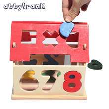 Abbyfrank DIY Wooden Digital Puzzle House Model Building 3D Jigsaw Educational Toy Model Handicraft House Brain Development