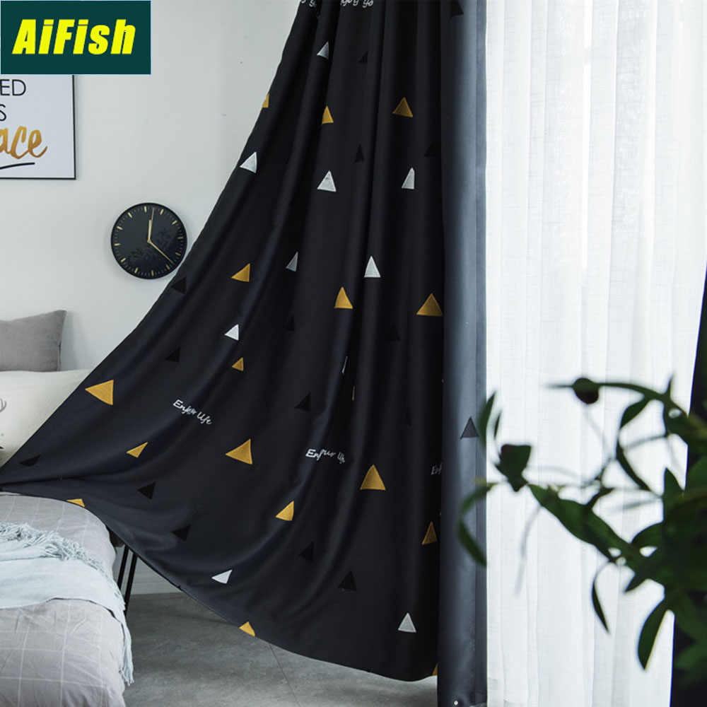 Embroidered Yellow White Geometric Blackout Kids Room Curtains White Tulle Window Curtains Sheer Voile Drape for Bedroom TM0173
