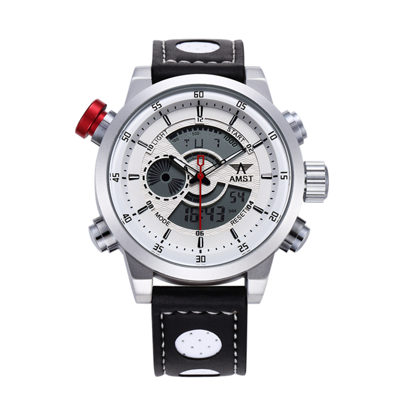 AMST Mens Genuine Leather Strap Sport Quartz Watch Led Digital Multi-function Waterproof Fashion Military Wristwatch Gift Box<br>