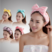 2017 women blue bow hair band belted Polka Dot plush velvet lady headband makeup bath wash scarf HO873860