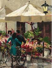 Flower Market Street Brent Heighton street scene paintings High quality Hand painted