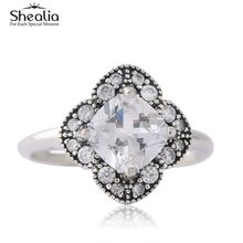 Shealia Crystallised Floral Fancy Rings For Women 925 Sterling Silver Anel Brand Logo Anillos Mujer Wedding Flower Ring Jewelry