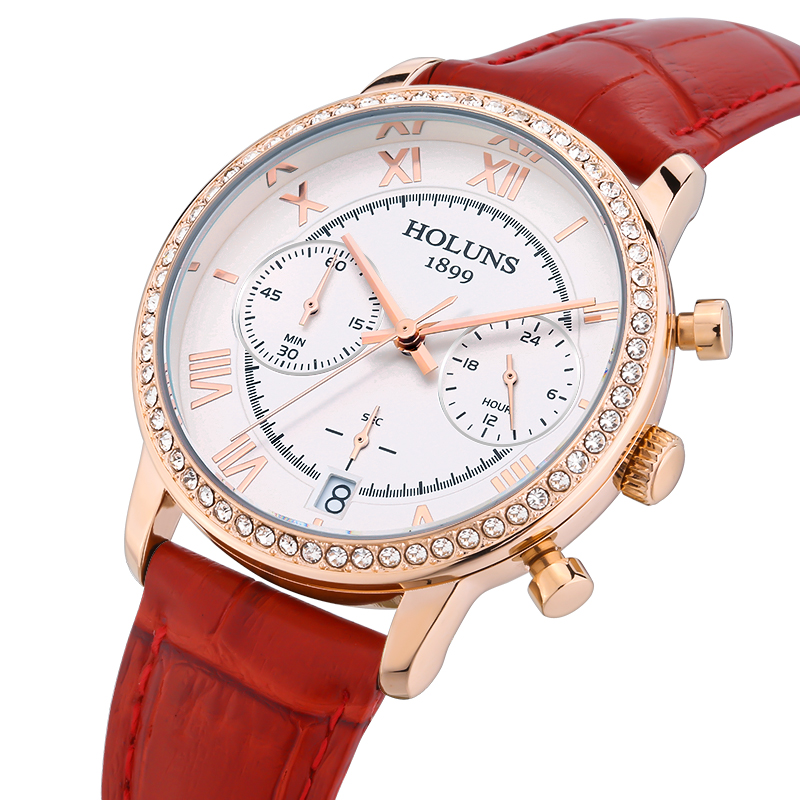 HOLUNS Watch women diamond watch students trends quartz watches leather strap waterproof relogio feminino<br>