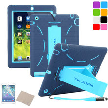 Shockproof Heavy Duty Case for ipad 3 Silicone Hard Case for ipad 2 Kickstand Cover Free Screen Film+Stylus Pen(China)
